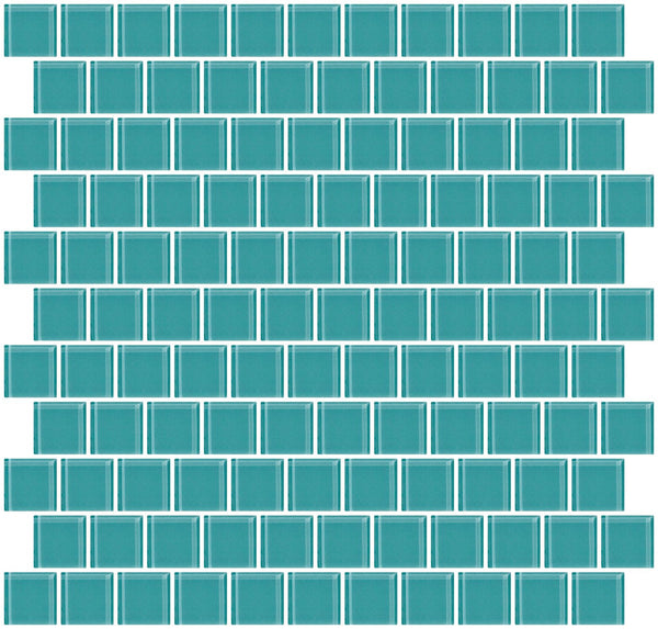 1 Inch Light Teal Green Glass Tile Reset In Offset Layout