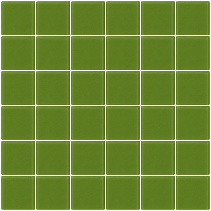 2x2 Inch Dark Lime Green Frosted Glass Tile