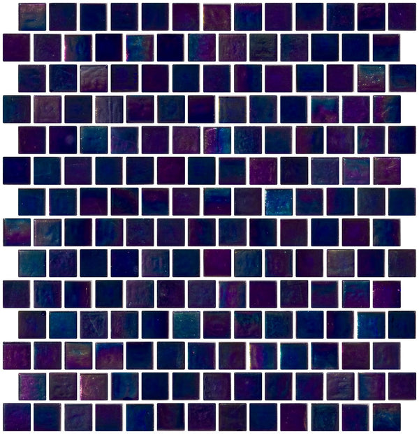3/4 Inch Dark Cobalt Blue Shimmer Iridescent Glass Tile Reset In Offset Layout