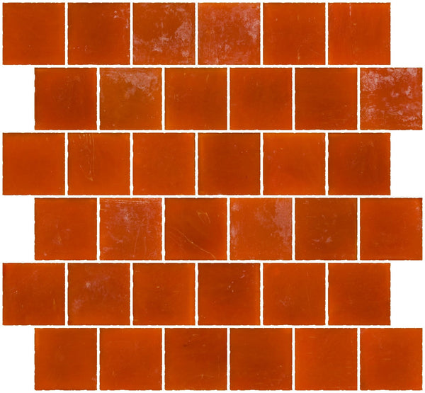2x2 Inch Matte Orange Glass Tile Reset In Offset Layout