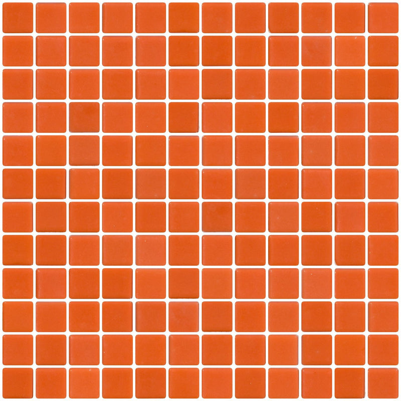 1 Inch Bright Orange Recycled Glass Tile