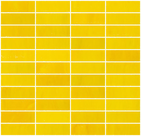 1x3 Inch Opaque Sunshine Yellow Glass Subway Tile Stacked