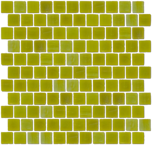 1 Inch Chartreuse Opaque Glass Tile In Offset Layout