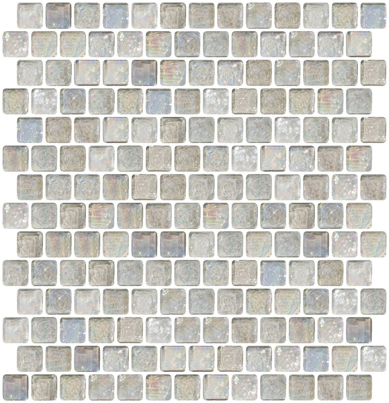 3/4 Inch Clear Iridescent Glass Tile Offset