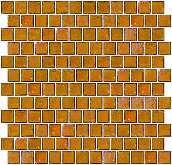 1 Inch Amber Brown Iridescent Glass Tile Reset In Offset Layout