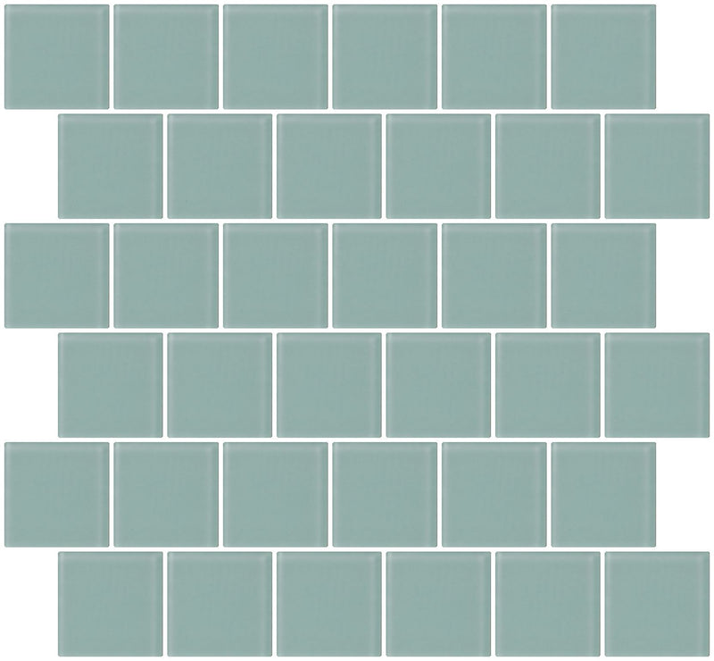2x2 Inch Pale Aqua Blue Frosted Glass Tile Reset In Offset Layout