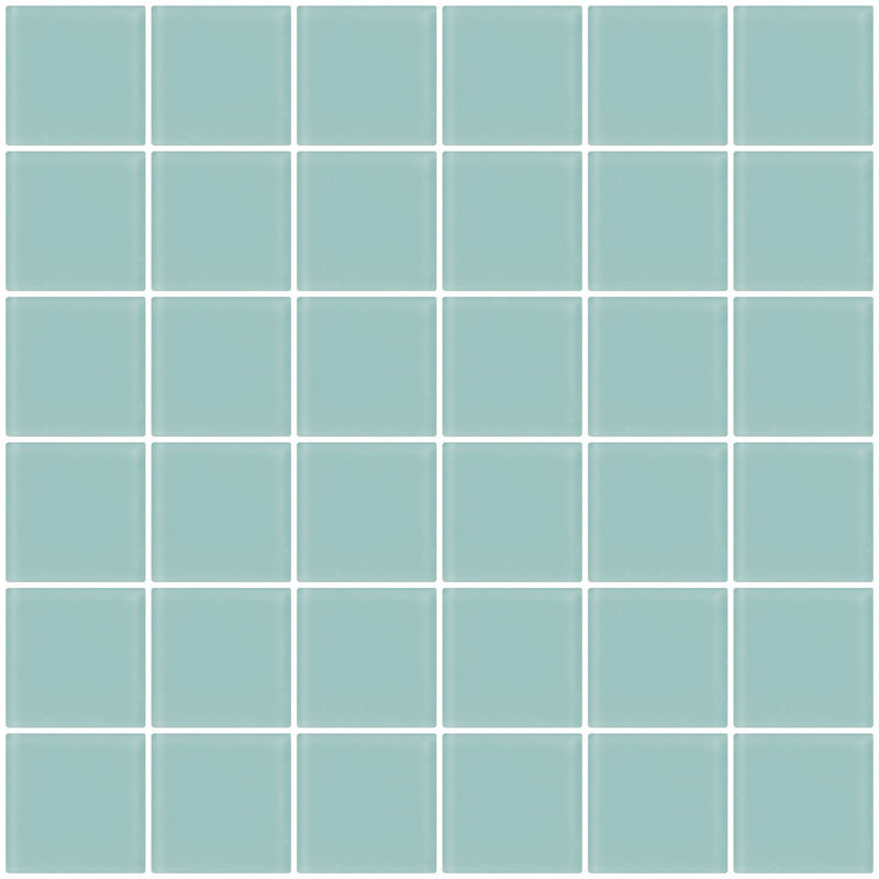 2x2 Inch Light Aqua Blue Frosted Glass Tile