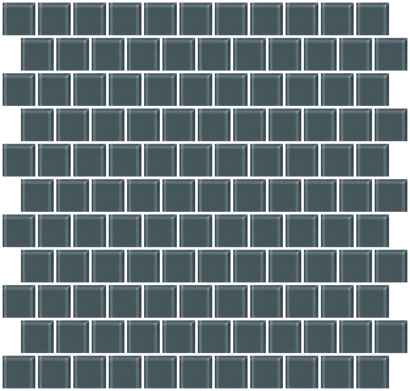 1 Inch Medium Gray Glass Tile Reset In Offset Layout