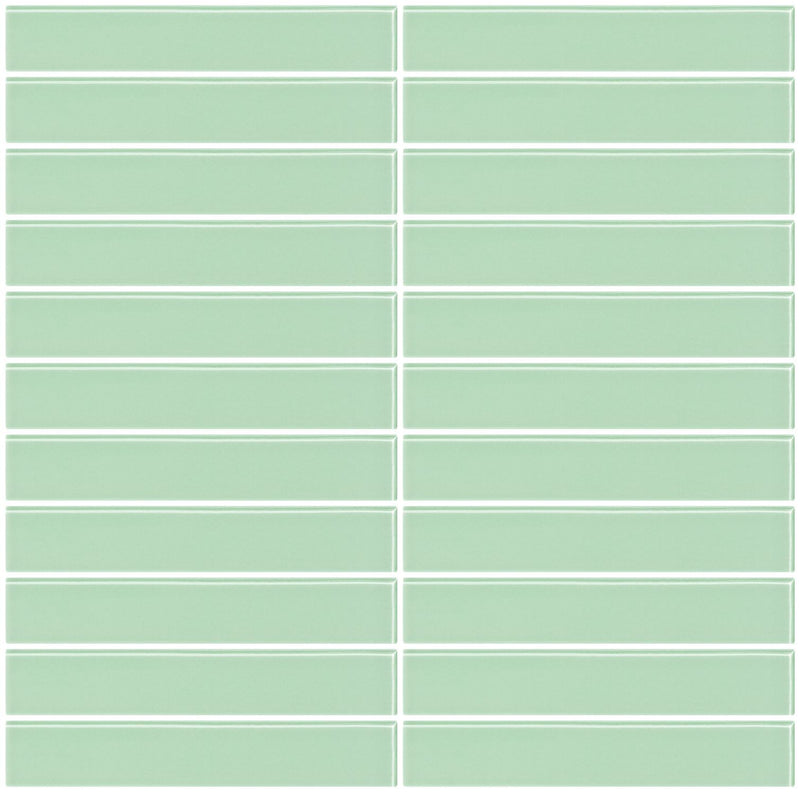 1x6 Inch Retro Mint Green Glass Subway Tile