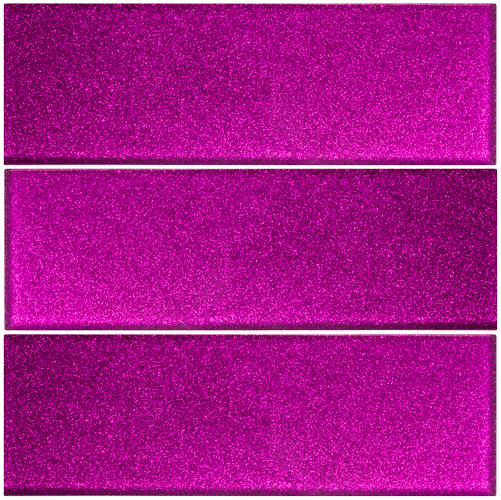 "12X4"" Inch Fuchsia Pink Glitter Glass Subway Tile Stacked"