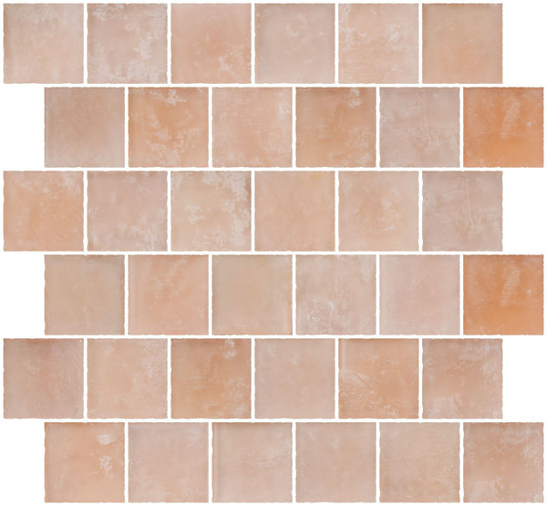 2x2 Inch Matte Peach Pink Glass Tile Reset In Offset Layout