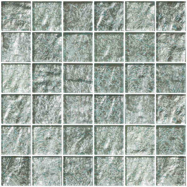 2x2 Inch Iced Aqua Steel Blue Metallic Glass Tile