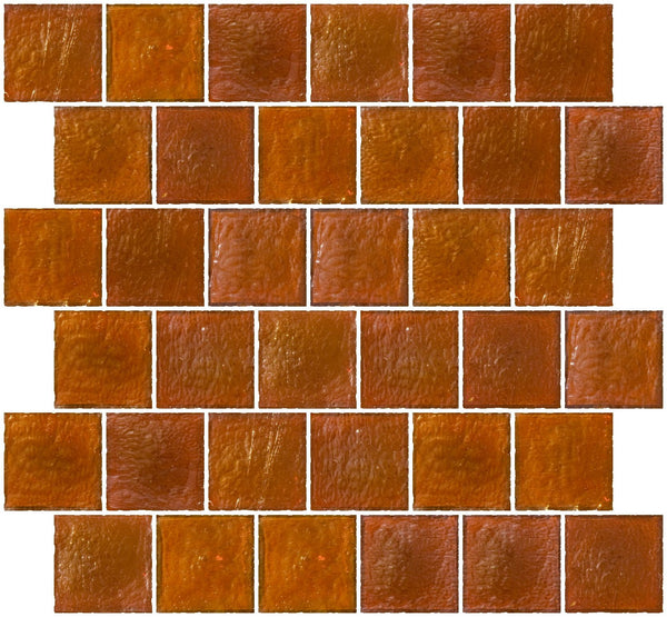 2x2 Inch Retro Orange Iridescent Glass Tile Reset In Offset Layout
