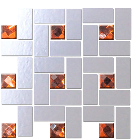Quarter Sheet of LOOKING GLASS MIRROR AND ORANGE DIAMOND BLING BLEND