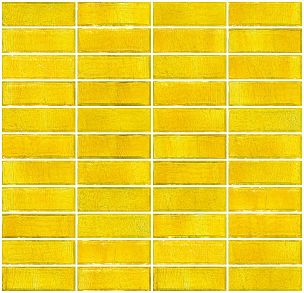 1x3 Inch Sunshine Yellow Transparent Glass Subway Tile Stacked