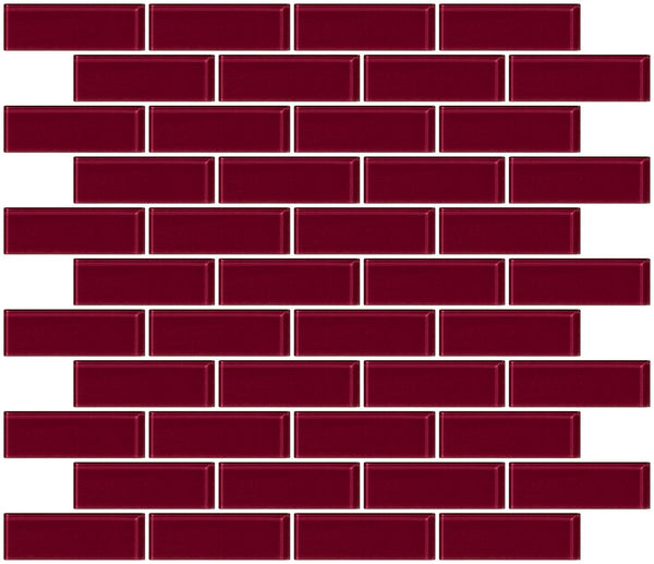 1x3 Inch Burgundy Red Glass Subway Tile