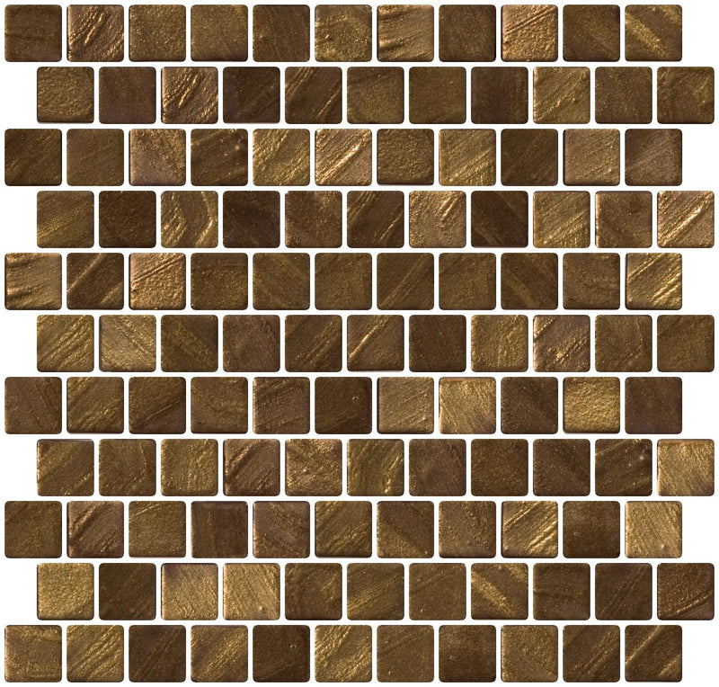 1 Inch Bronze Gold Recycled Glass Tile Reset In Offset Layout