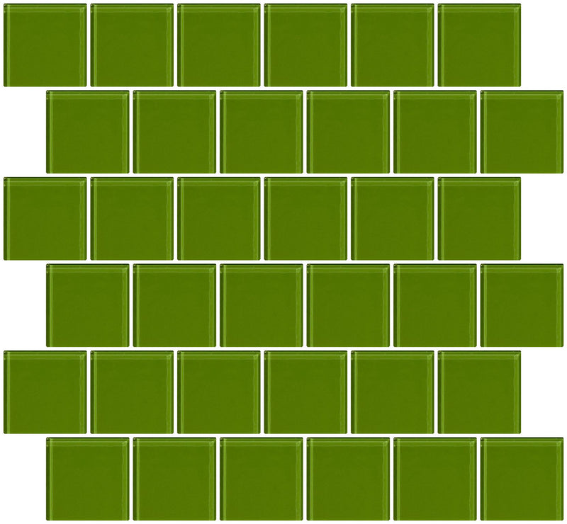 2x2 Inch Dark Lime Green Glass Tile Offset