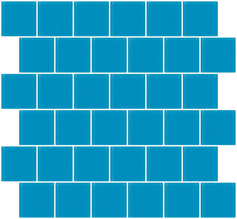 2x2 Inch Turquoise Blue Frosted Glass Tile Reset In Offset Layout