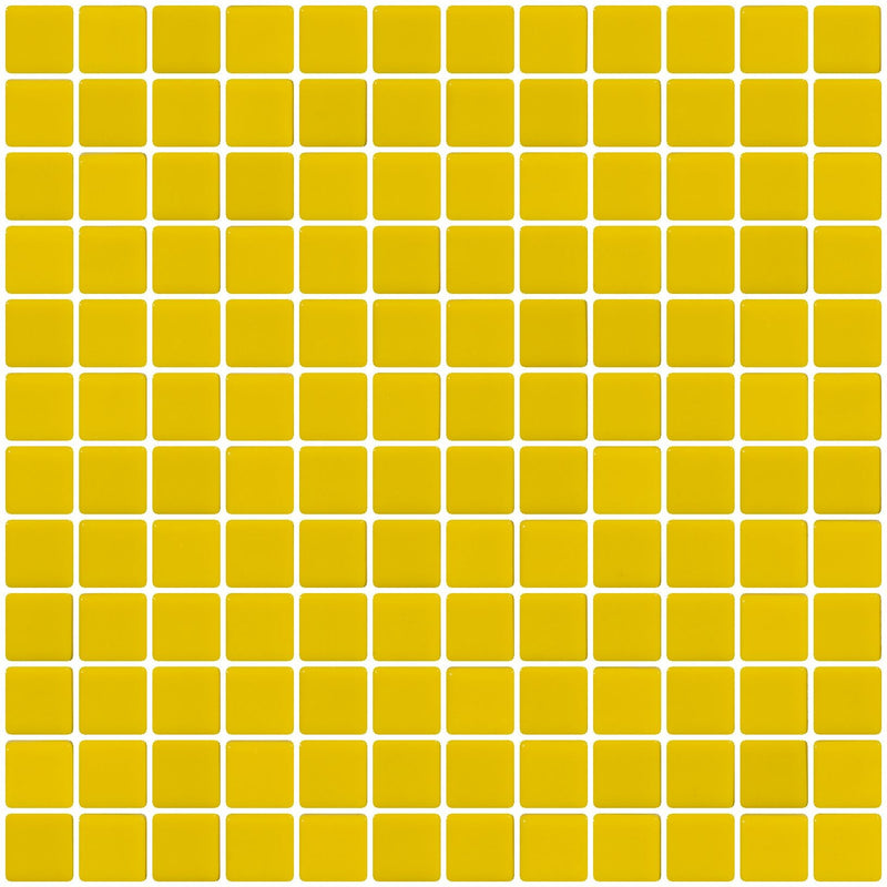 1 Inch Bright Yellow Recycled Glass Tile