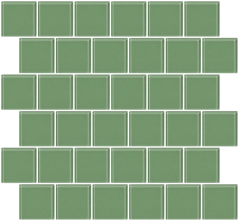 2x2 Inch Light Sage Green Glass Tile Offset