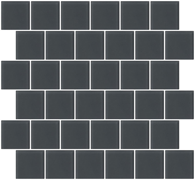 2x2 Inch Dark Gray Frosted Glass Tile Reset In Offset Layout