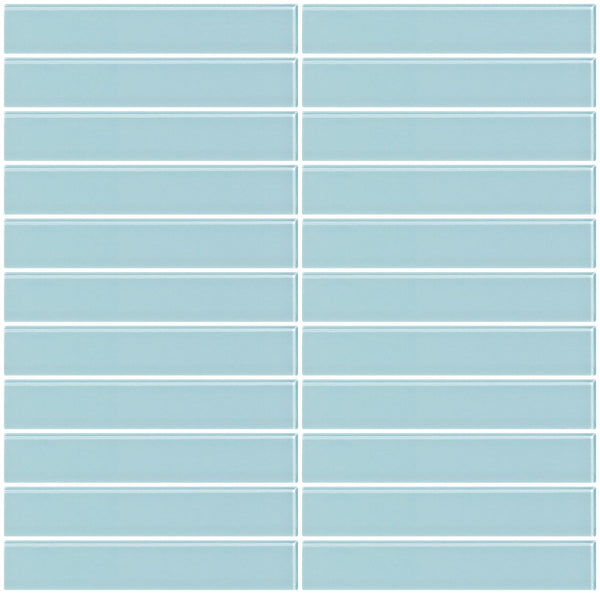 1x6 Inch Light Aqua Blue Glass Subway Tile