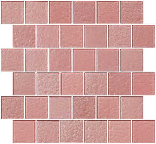 2x2 Inch Pale Pink Rose Metallic Glass Tile Reset In Offset Layout
