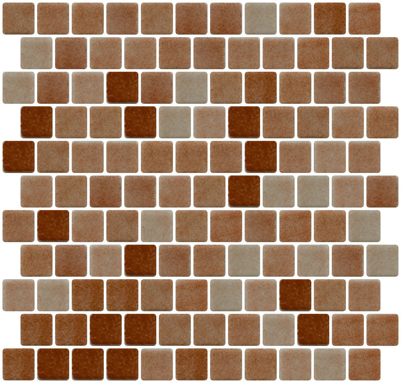 1 Inch Cocoa Brown Dapple on White Recycled Glass Tile Offset