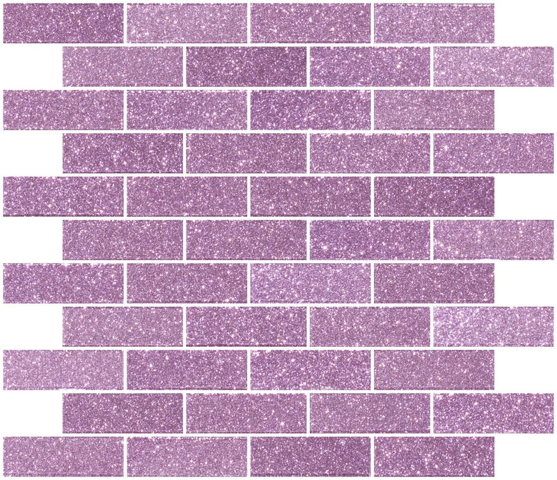 1x3 Inch Barbie Pink Glitter Glass Subway Tile