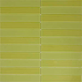 1x6 Light Lime Tuxedo Mosaic Tile Design
