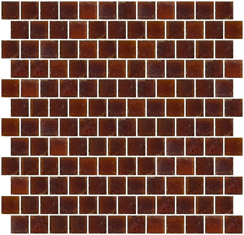 1 Inch Matte Amber Brown Glass Tile Reset In Offset Layout