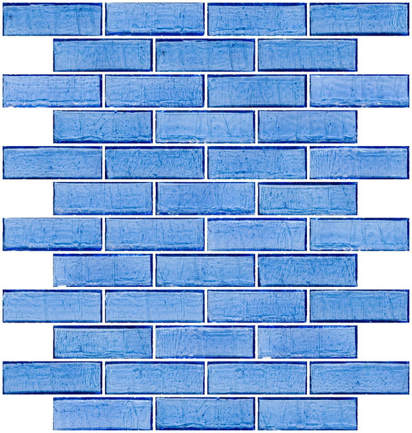 1x3 Inch Medium Blue Transparent Glass Subway Tile