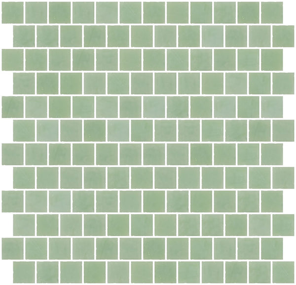 1 Inch Opaque Jadeite Green Glass Tile Reset In Offset Layout