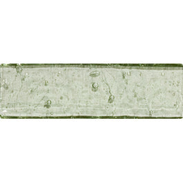 Sample of 1x3 Inch Green Transparent Glass Subway Tile Stacked