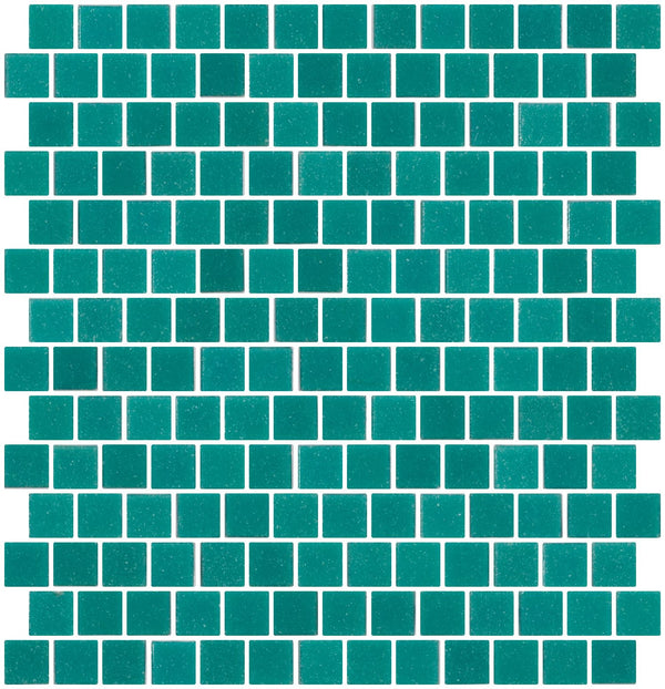3/4 Inch Caribbean Aqua Blue Glass Tile Reset In Offset Layout