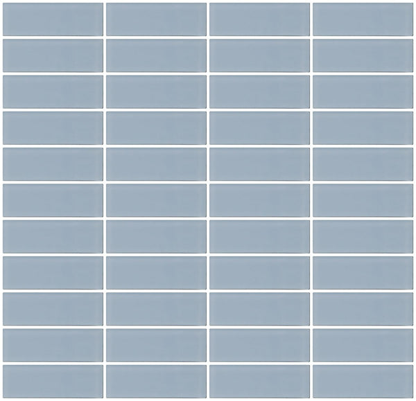1x3 Inch Baby Blue Frosted Glass Subway Tile Reset Stacked
