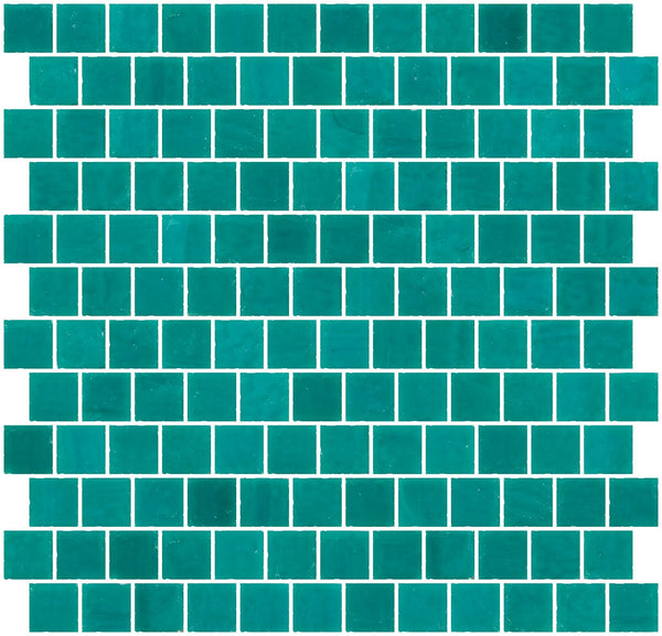 1 Inch Opaque Teal Green Glass Tile Reset In Offset Layout