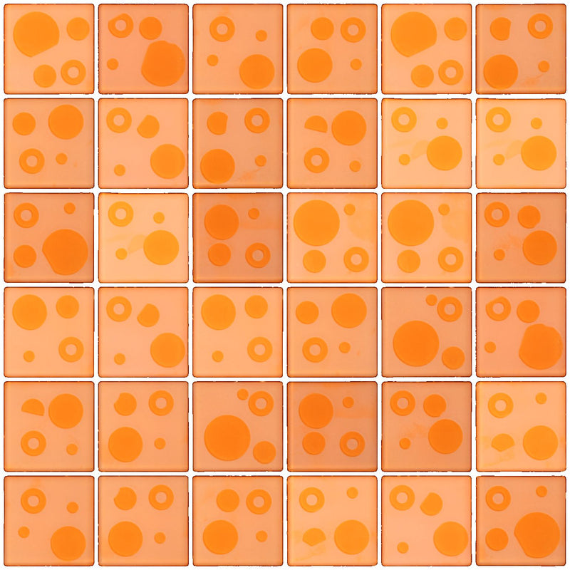 2x2 Inch Cosmos Glass Tile In Apricot Orange