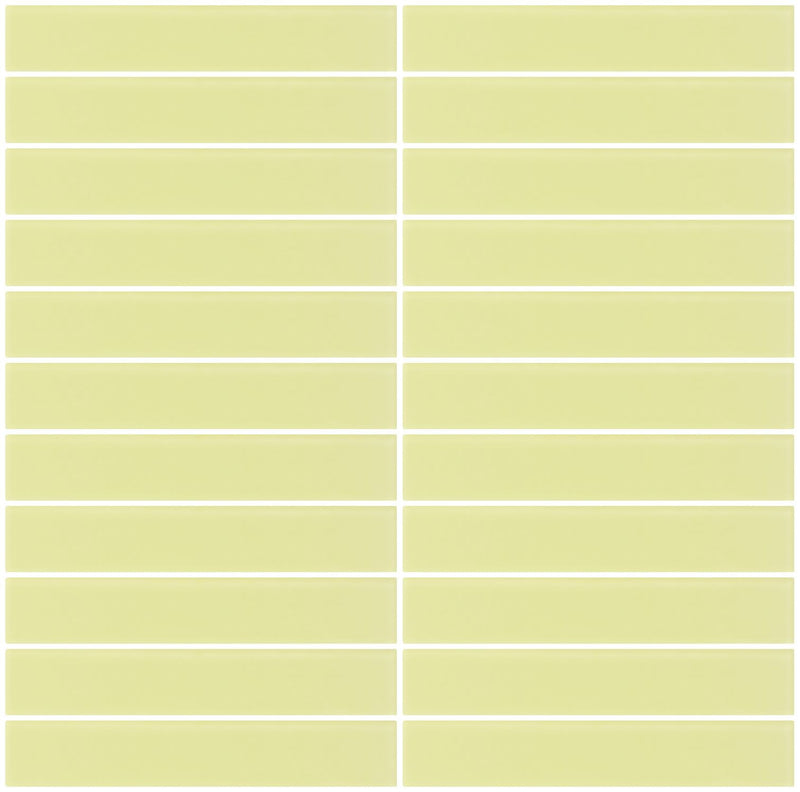 1x6 Inch Light Lime Green Frosted Glass Subway Tile