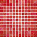 1 Inch Red Iridescent Recycled Glass Tile