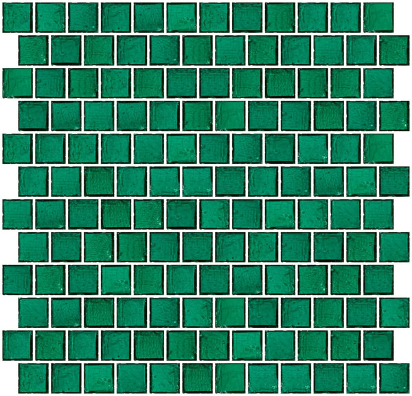 1 Inch Transparent Teal Green Glass Tile Reset In Offset Layout