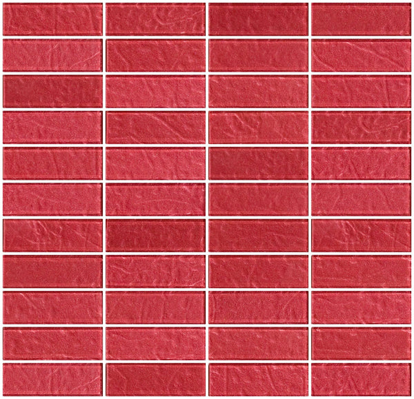1x3 Inch Red Rose Metallic Glass Subway Tile Stacked