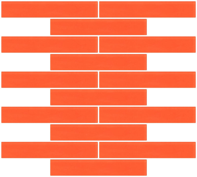 1x6 Inch Bright Orange Frosted Glass Subway Tile