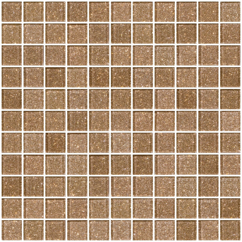 1 Inch Taupe Gold Glitter Glass Tile