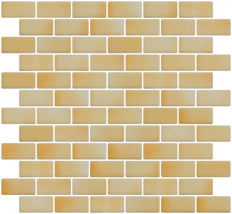 1x2 Inch Buttery Yellow Dapple on White Recycled Subway Glass Tile RB