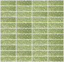 1x3 Inch Light Lime Green Glitter Glass Subway Tile Stacked