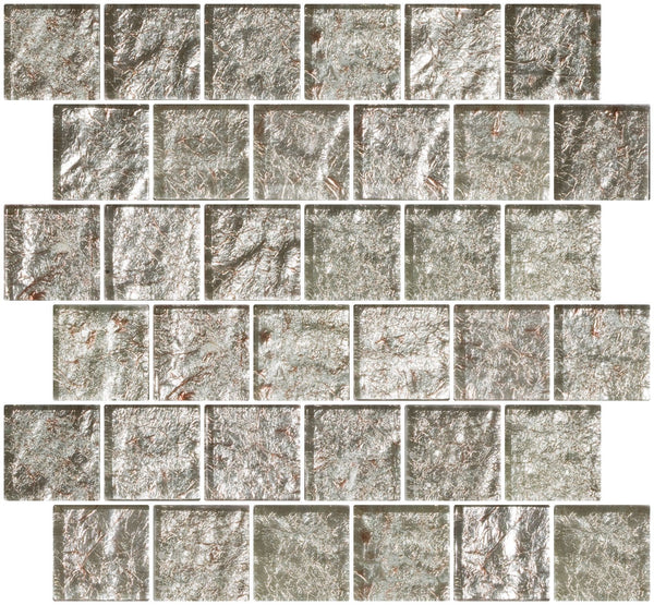 2x2 Inch Crushed Crystal Metallic Glass Tile Reset In Offset Layout