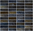 1x3 Inch Black Iridescent Glass Subway Tile Stacked