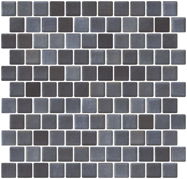 1 Inch Faux Stainless Steel Gray Recycled Glass Tile Offset